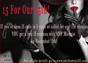 New Wednesday Free Erotic Minutes Day: Mistress Cassandra 1-800-730-7164